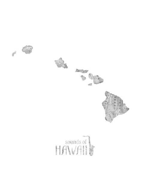 Hawaii Map Music Notes Art Print