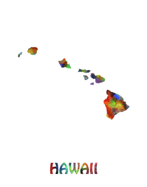 Hawaii Map Watercolor Art Print