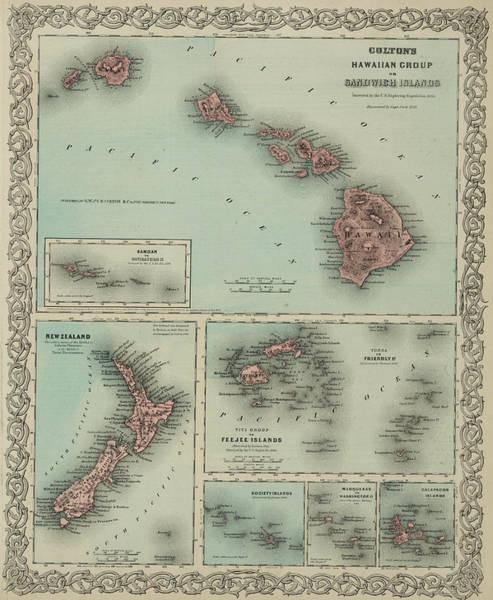 French Polynesia Wall Art - Drawing - Hawaii, New Zealand, Fiji,tonga, Samoa, French Polynesia, Marquesas, And Galapagos Islands by Colton