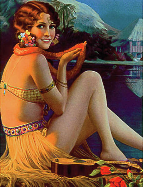 Hula Wall Art - Painting - Hawaii, Pin Up Hula Girl At The Coast by Long Shot