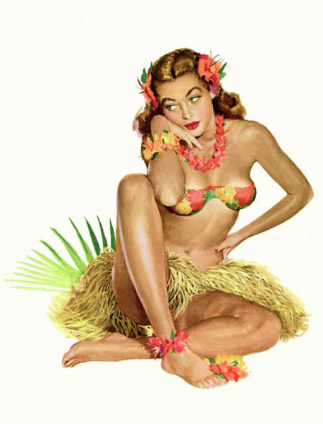 Hula Wall Art - Painting - Hawaii, Pin Up Hula Girl In Traditional Costume by Long Shot