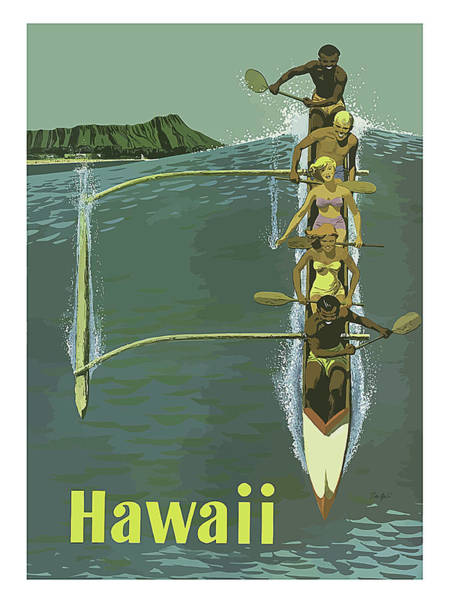 Rowing Wall Art - Painting - Hawaii, Rowing On The Open Sea by Long Shot