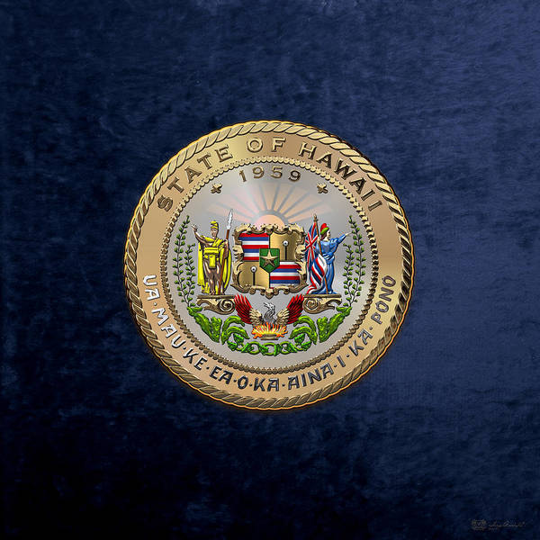 Digital Art - Hawaii State Seal Over Blue Velvet by Serge Averbukh