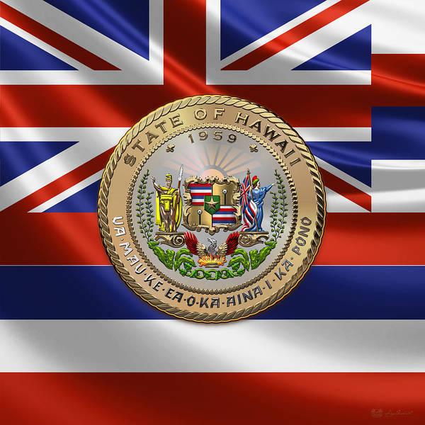 Digital Art - Hawaii State Seal Over Flag by Serge Averbukh