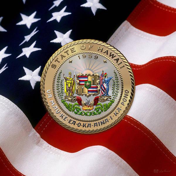 Digital Art - Hawaii State Seal Over U.s. Flag by Serge Averbukh