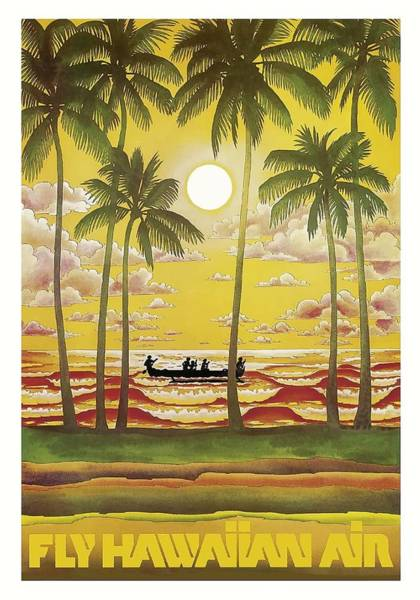 Hawaii Digital Art - Hawaii Vintage Airline Travel Poster  by Retro Graphics