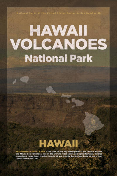 Hawaii Mixed Media - Hawaii Volcanoes National Park In Hawaii Travel Poster Series Of National Parks Number 30 by Design Turnpike