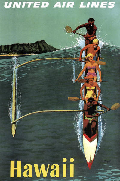 Outrigger Canoe Photograph - Hawaii Waikiki Travel Poster  1950s by Daniel Hagerman