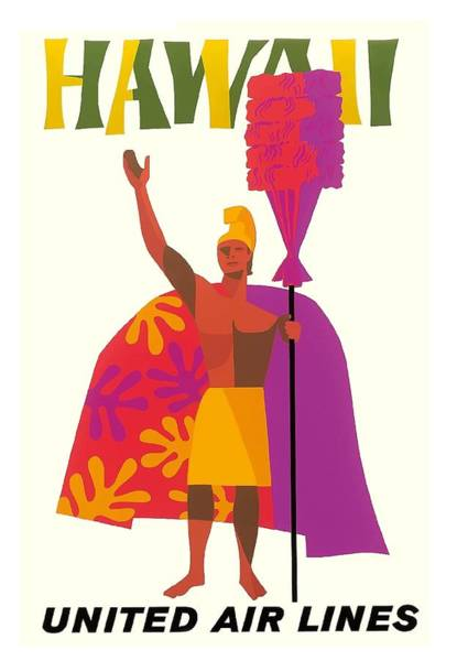 Hawaiian Chief United Air Lines Vintage Travel Poster Art Print