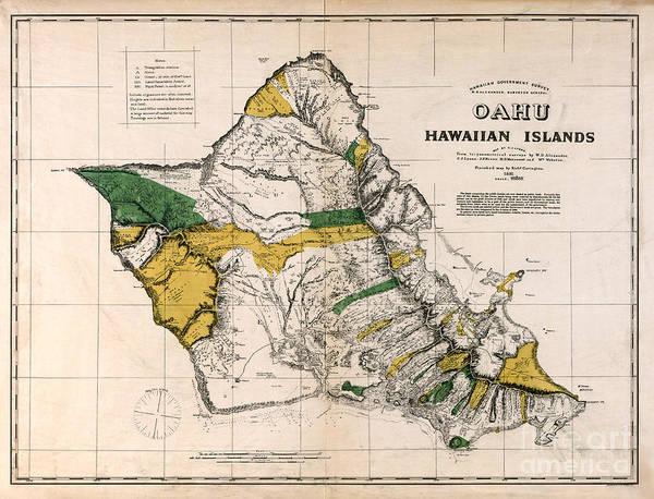 Wall Art - Photograph - Hawaiian  Islands Map 1881 by Jon Neidert