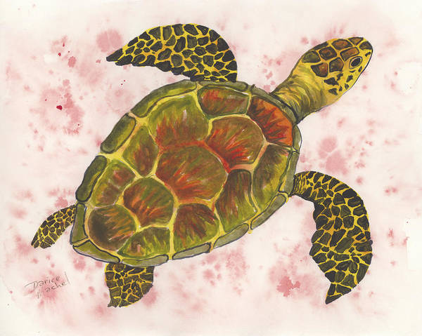 Painting - Hawaiian Sea Turtle 4 by Darice Machel McGuire
