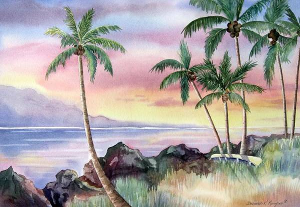 Oceanscape Painting - Hawaiian Sunset by Deborah Ronglien