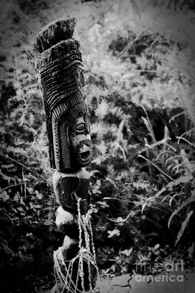 Photograph - Hawaiian Tiki Carving Draped With Seashell Lei by Sharon Mau