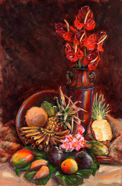 Painting - Hawaiian Tropical Fruit Still Life by Karen Whitworth