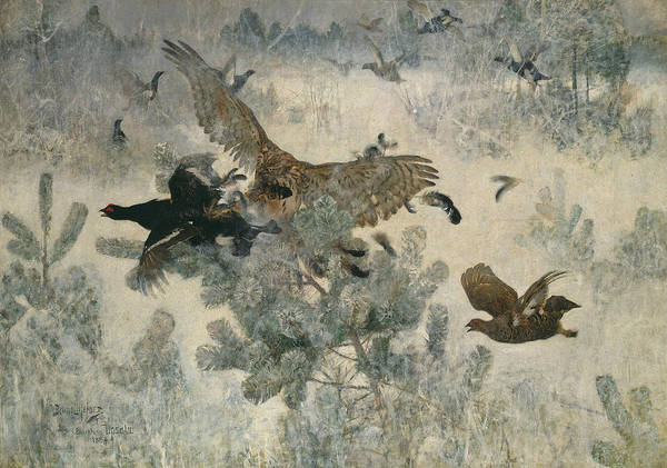 Swedish Painters Wall Art - Painting - Hawk And Black-game by Bruno Liljefors