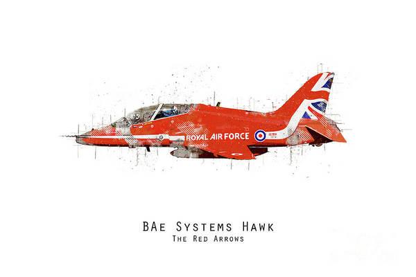 Wall Art - Digital Art - Hawk Sketch - Red Arrows by J Biggadike