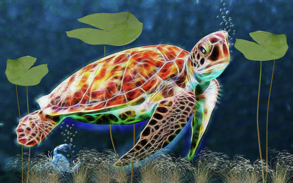 Digital Art - Hawksbill Sea Turtle by Ericamaxine Price
