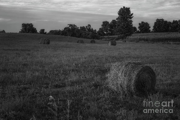 Wall Art - Photograph - Hay Bail Sunrise Bw by Michael Ver Sprill
