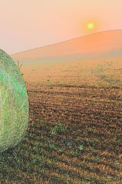 Photograph - Hay Bale Sunset 7429 by Jerry Sodorff