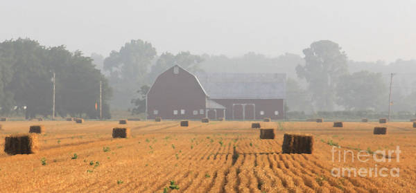 Wall Art - Photograph - Hay Bales And Red Barn At Sunrise by Jack Schultz