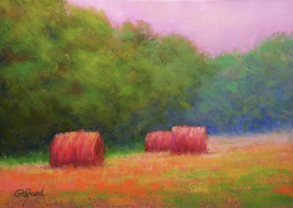 Wall Art - Painting - Hay Bales And Thunder by Paula Ann Ford