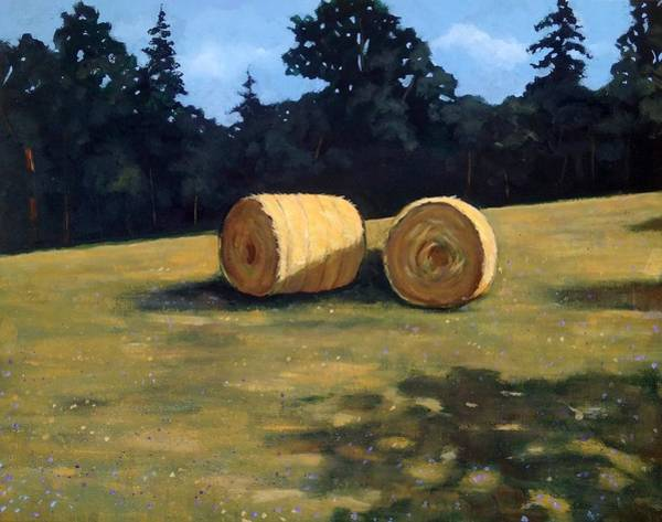 Wall Art - Painting - Hay Bales In The Morning by Joyce Geleynse
