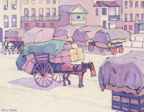 Oil Industry Painting - Hay Carts - Cumberland Market by Robert Polhill Bevan