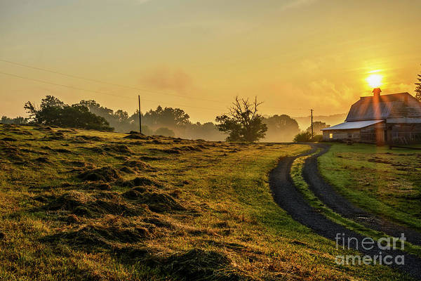 Photograph - Hay Field And Barn Sunrise by Thomas R Fletcher