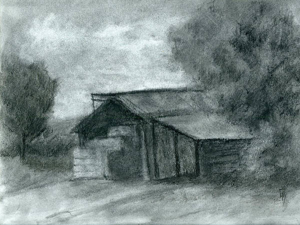 Drawing - Hay Shed Sketch by David King