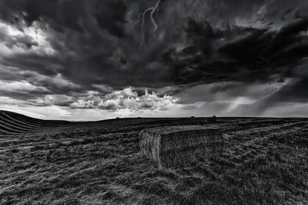 Photograph - Hay Storm Black And White by Mark Kiver