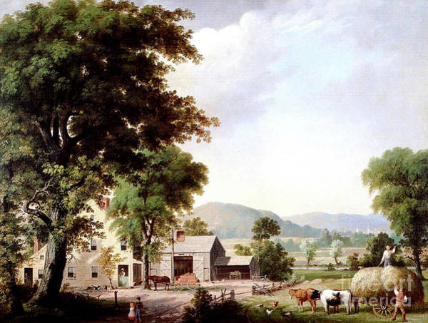 Wall Art - Painting - Haying At Jones Inn, 1854 by George Durrie