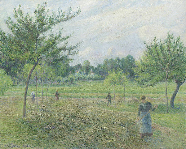 Wall Art - Painting - Haymaking At Eragny by Camille Pissarro
