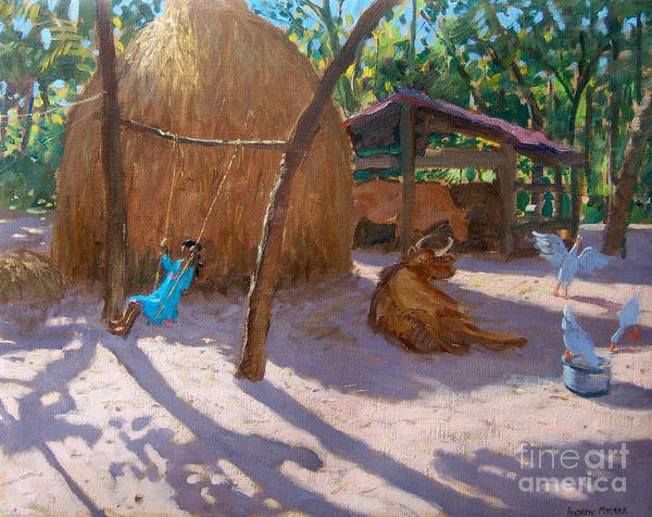 Wall Art - Painting - Haystack And Girl On A Swing, Kerala by Andrew Macara