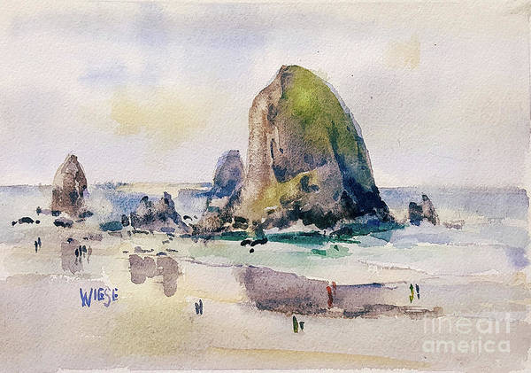 Wiese Wall Art - Painting - Haystack Rock, Canon Beach, Or by Marilynn Wiese