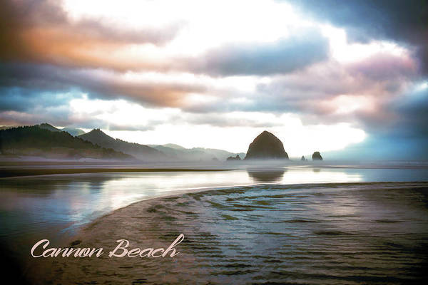 Cannon Beach Painting - Haystack Rock In Morning Mist Cannon Beach Oregon Text Cannon Beach by Elaine Plesser