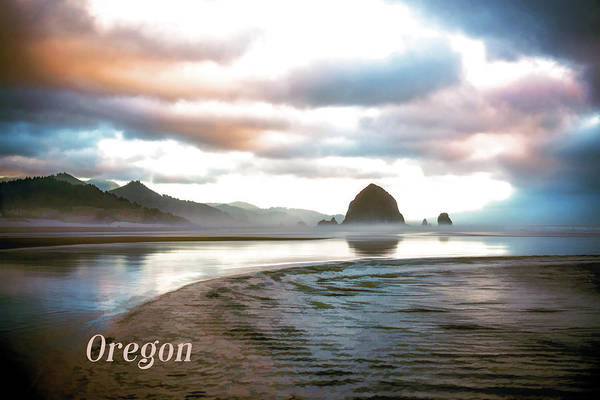Cannon Beach Painting - Haystack Rock In Morning Mist Cannon Beach Oregon  Text Orecon by Elaine Plesser