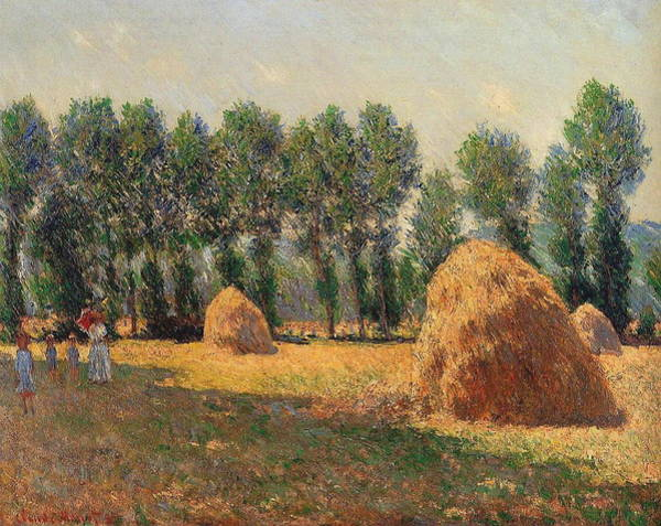Barley Painting - Haystacks At Giverny 1 by Claude Monet