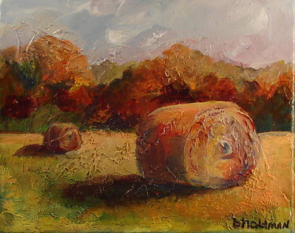 Open Space Mixed Media - Haystacks by Buff Holtman
