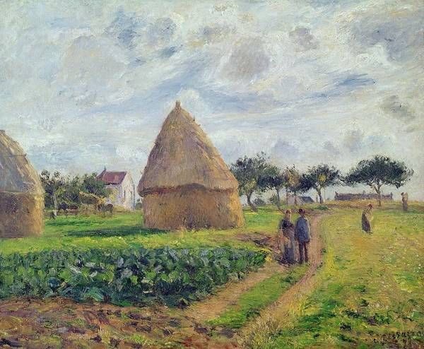 Plowing Painting - Haystacks by Camille Pissarro
