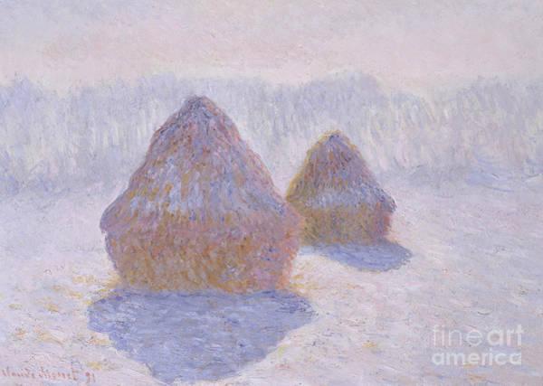 Wall Art - Painting - Haystacks  Effect Of Snow And Sun, 1891  by Claude Monet