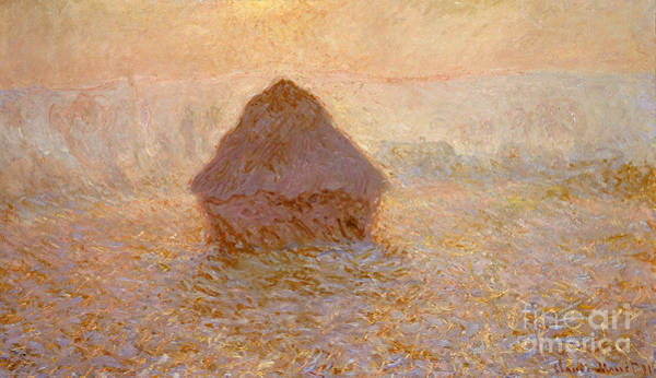 Wall Art - Painting - Haystacks, Sun In The Mist by Claude Monet