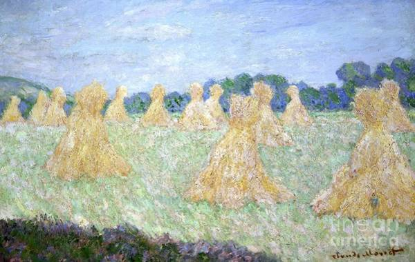 Normandy Painting - Haystacks The Young Ladies Of Giverny Sun Effect by Claude Monet