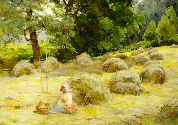 The Shepherdess Wall Art - Painting - Haytime by Rosa Appleton