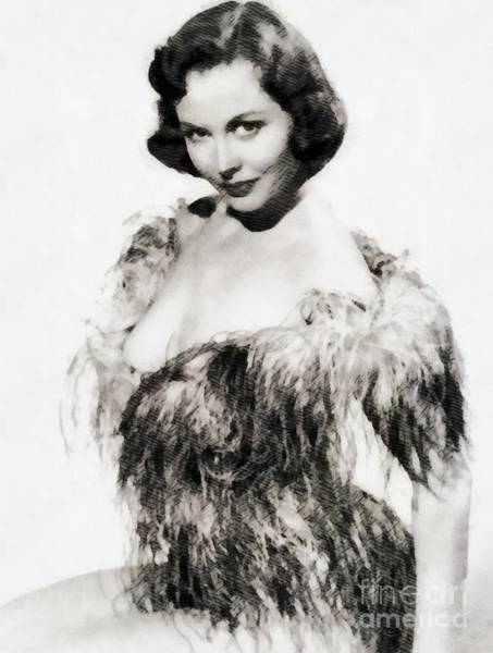 Horror Film Painting - Hazel Court, Vintage Actress by John Springfield