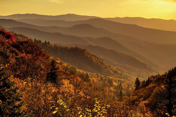 Photograph - Hazy Fall Sunrise In The Smoky Mountains by Teri Virbickis