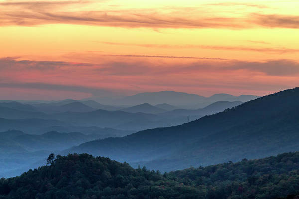 Photograph - Hazy Layer Sunset In The Smokies by Teri Virbickis