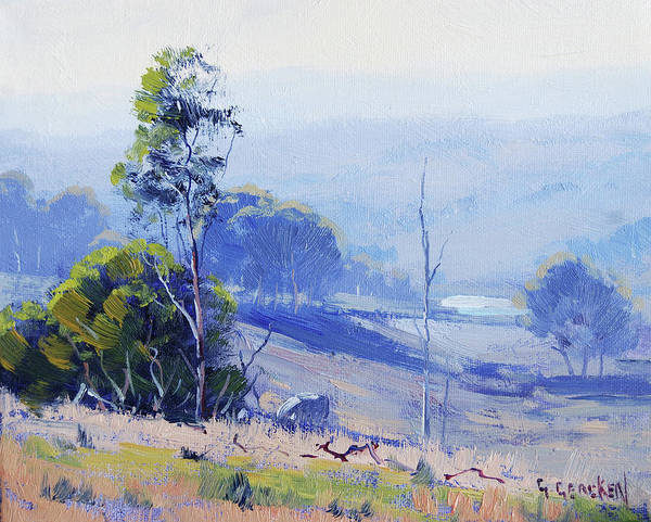 Oil Field Painting - Hazy Light Mudgee by Graham Gercken