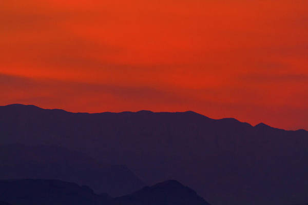 Photograph - Hazy Orange Mountain Sunset by SR Green