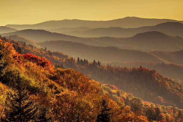 Hazy Sunny Layers In The Smoky Mountains Art Print