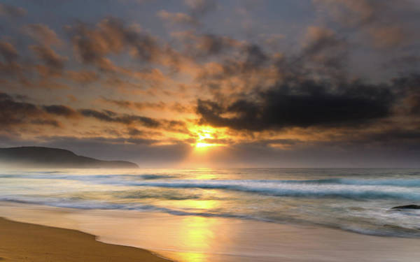 Killcare Photograph - Hazy Sunrise Seascape With Clouds  by Merrillie Redden